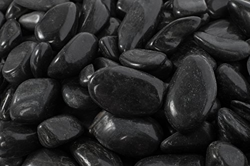 Margo 20lb. Medium Black Super Polished Pebbles 1 in. to 2 in. ... (Polished Glass Rocks compare prices)