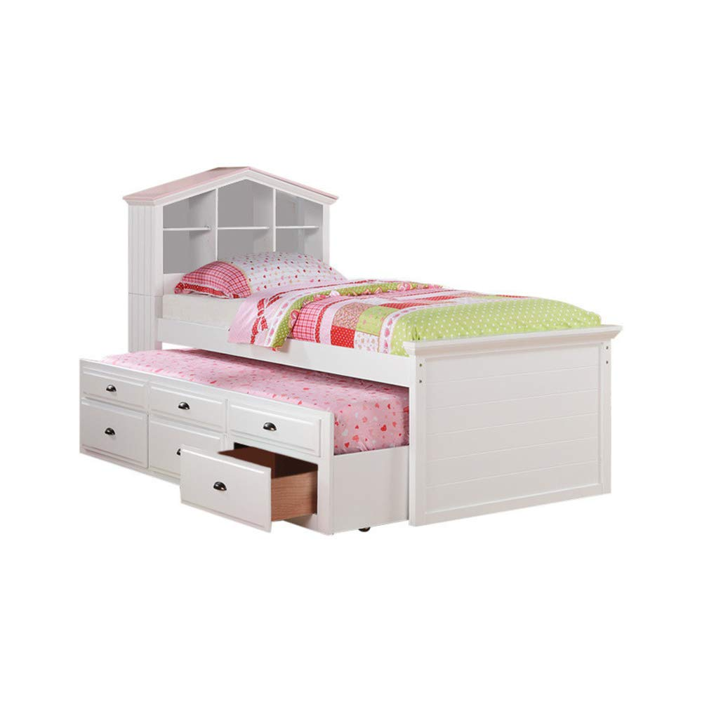 Amazon.com: Benzara BM167263 Twin Size Bed With Trundle Drawers And House  Headboard White: Kitchen U0026 Dining
