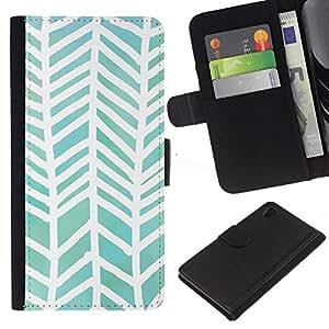 iBinBang / Flip Funda de Cuero Case Cover - Watercolor White Green Pattern - Sony Xperia Z4