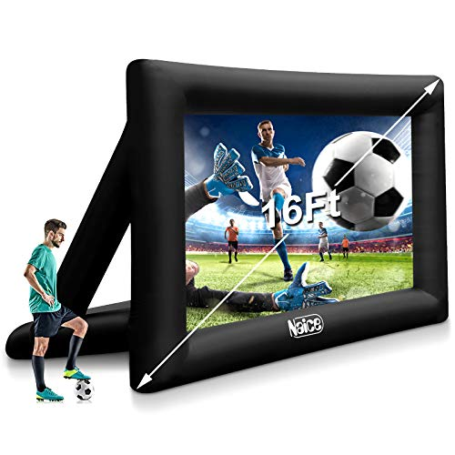 Naice 16 Feet Inflatable Movie Projector Screen Outdoor and Indoor Home Theater Thickened Projection Screen Portable for Party Camping Games Watching