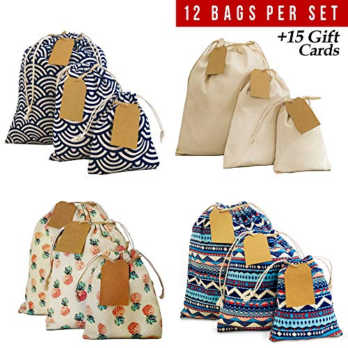 (Drawstring bag 12pcs + 15 removable tags, reusable produce bags, eco friendly storage bags, snack cloth bags, reusable grocery bags, canvas bag for Birthday Wedding Party Baby Shower. 2nd Ed. )