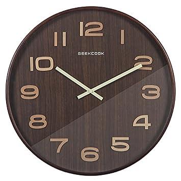 Komo silencioso Moderno Decoración Adorno para Hogar Relojes Reloj de Pared de Madera Maciza Dormitorio Salón Ideas Modernas Retro Reloj de Cuarzo de Color ...