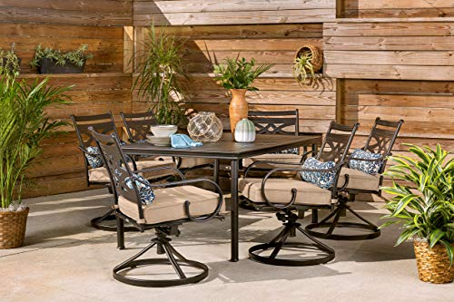 Hanover Patio Montclair 7-Piece Dining Set in Country Cork with 6 Swivel Rockers, MCLRDN7PCSQSW6-TAN Outdoor Furniture, Tan