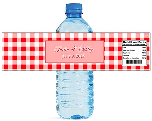 Gingham Labels - 100 Red Gingham Wedding Anniversary Engagement Party Water Bottle Labels 8