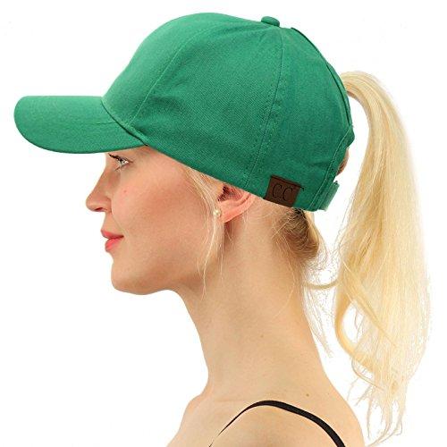 (C.C Ponytail Messy Buns Trucker Ponycaps Plain Baseball Visor Cap Dad Hat Washed Green)