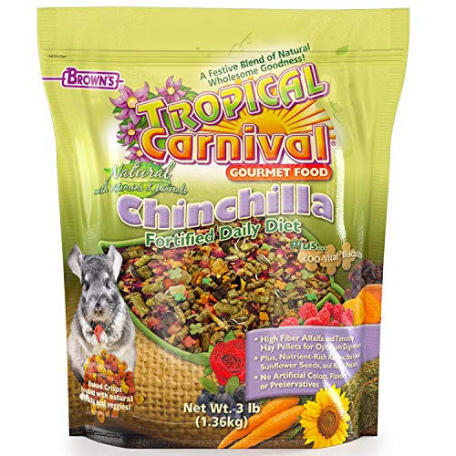 Tropical Carnival F.M. Brown's Natural Chinchilla Food, 3-lb Bag - Vitamin-Nutrient Fortified Daily Diet with High Fiber Alfalfa and Timothy Hay Pellets for Optimum Digestion by Tropical Carnival