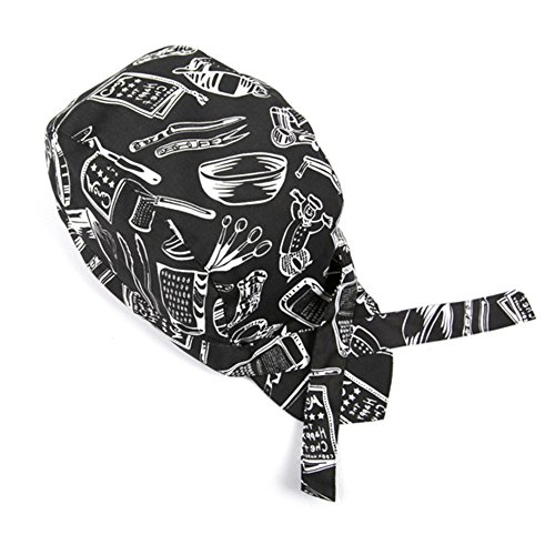 Baotou Skull Cap Chef Hat Professional Catering Various Colorful Chef Cap New (Black - Fitted Versace Hat