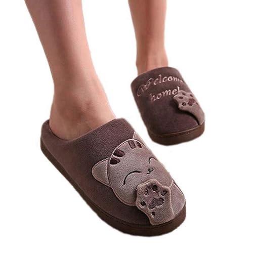 Mujeres de Invierno Zapatillas de casa de Dibujos Animados Gato Antideslizante Suave Caliente Chanclas Interiores Dormitorio Zapatos de Piso: Amazon.es: ...