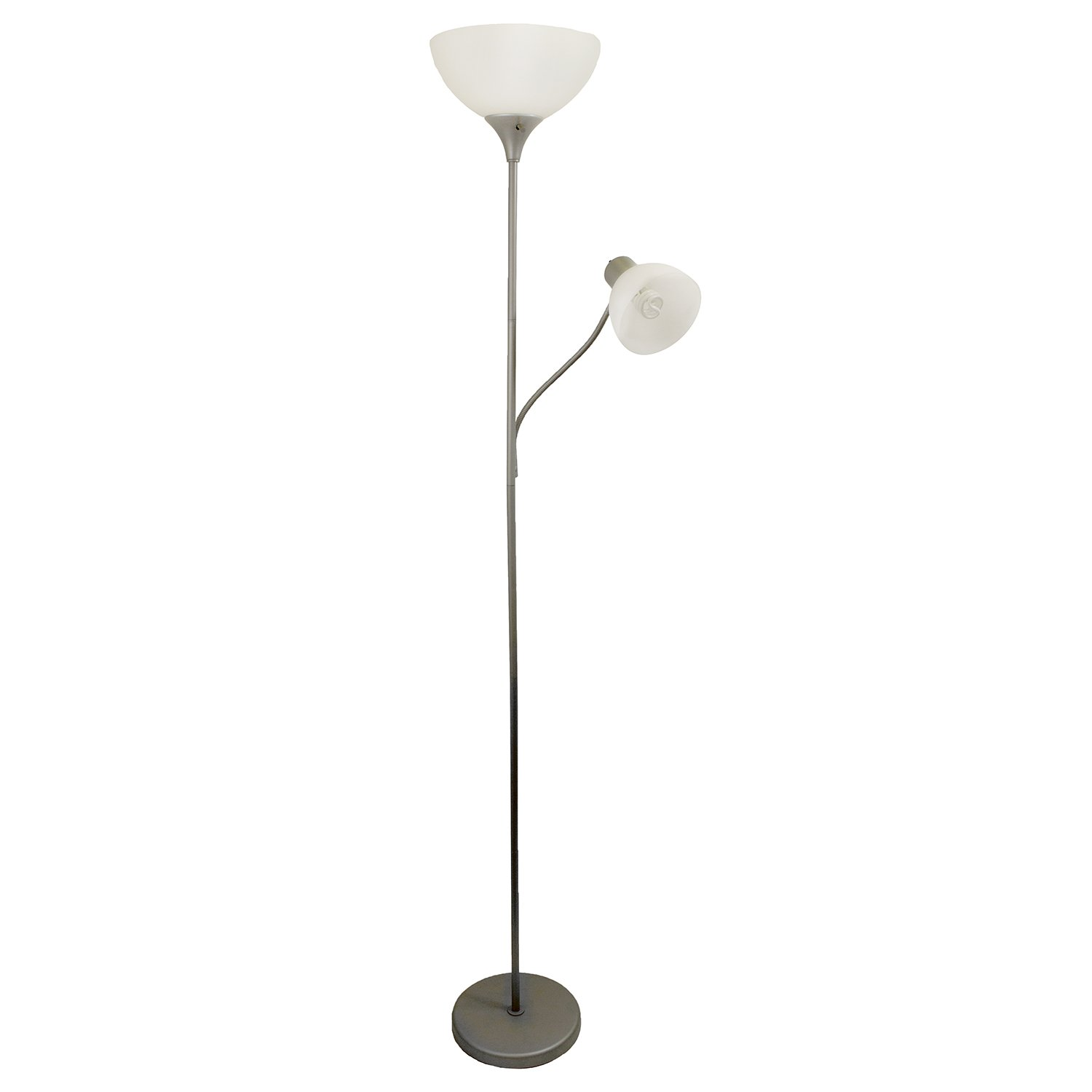 Two Light Floor Lamp: Simple Designs LF2000-SLV Floor Lamp with Reading Light, Silver,Lighting