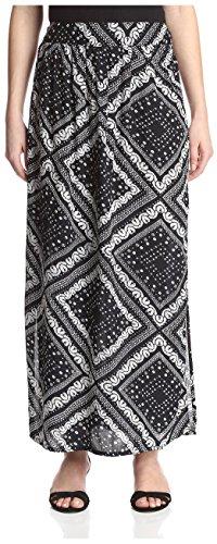 James & Erin Women's High Slit Printed Skirt