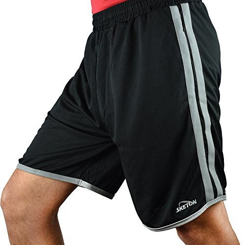 Men's Shorts Mesh Athletic Short with Reflective Stripes by Sketon with Pockets, Black, L