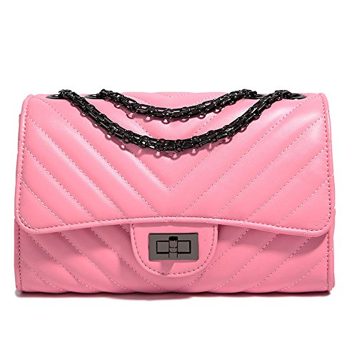 Women Fashion Shoulder Bag Jelly Clutch Handbag Quilted Crossbody Bag with Chain Pink