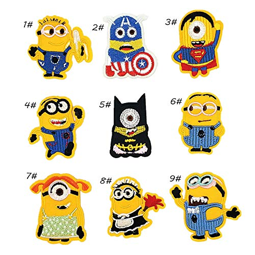 Iron On Patches - DIY Sew Decoration Appliques Stickers Embroidery Patches Cloth, Repair The Hole Stick (9 Pcs Minions)]()