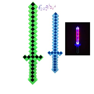 P&F Pack of 2 Light Up Classic Diamond Pixel Sword with Color Led Flashing & Sound - Blue & Green: Toys & Games