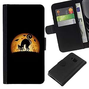 All Phone Most Case / Oferta Especial Cáscara Funda de cuero Monedero Cubierta de proteccion Caso / Wallet Case for HTC One M7 // Black Cat Halloween Art Drawing