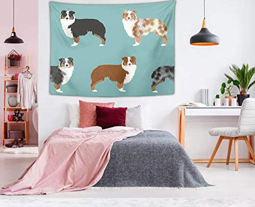 NiYoung Hippie Hippy Bedding Tapestry Australian Shepherds Dogs Queen Tapestries Wall Hanging Tapestries for Home Art Dorm Accessories Mandala Blanket Picnic Blanket Room Tapestries