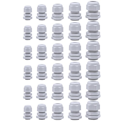 30 Pcs Cable Glands,Plastic Waterproof Cable Connectors,Adjustable 3.5-13mm Cable Gland Joints,PG7, PG9, PG11, PG13.5, PG16 (White) by Jetovo