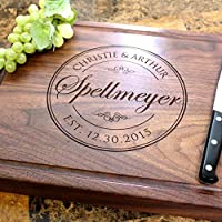 Classic Wedding Stamp Personalized Engraved Chopping Block - Wedding Gift, Bridal Shower, Anniversary Gift, Engagement Gift, Housewarming Gift. #001
