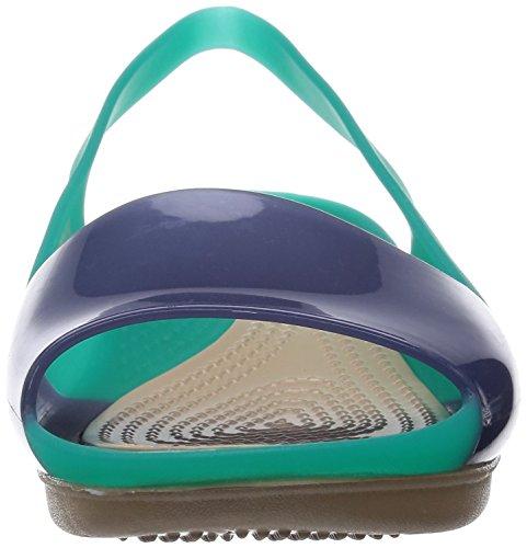 Teal Colorblock Crocs plana de talón abierto qFwZBn8w