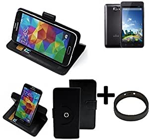 TOP SET: 360° Funda Smartphone para Kazam Trooper 2 5.0, negro + anillo protector | Función de stand Caso Monedero BookStyle mejor precio, mejor funcionamiento - K-S-Trade
