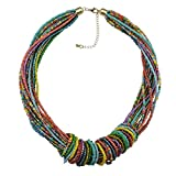 BOCAR Chunky Statement Colorful Seed Beads Women Choker Collar Necklace (309)
