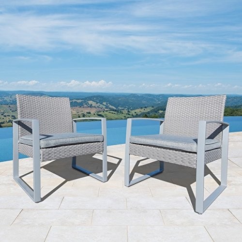 amazon com corvus cc024 alsace outdoor grey wicker club chairs with
