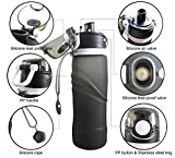 Collapsible Water Bottle with Airlock 750 ML (26fl oz) and 1L (35fl oz),XHAIZ Leakproof Portable Reusable Silicone Sports Water Bottle with Straw and Wide Mouth for Travel and Outdoors BPA Free