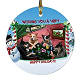 Home of Australian Cattle 4 Dogs Playing Poker Photo Round Christmas Ornament