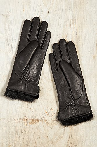 レディースラムスキンレザー手袋、ウサギファー裏地