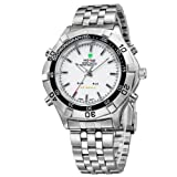Mens Sport Watch Silver Tone Metal Bracelet White Dial Analog Digital LED Dual Time WH-133