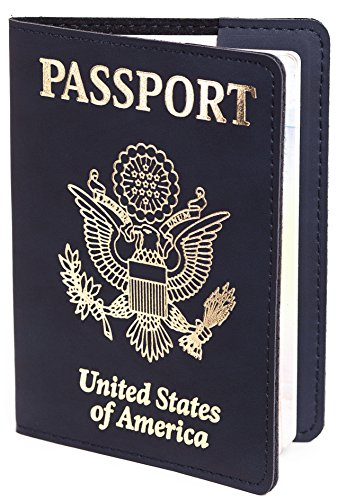 Us Passport Cover   Passport Holder   Passport Case For Men Women  Blue With Gold