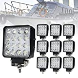 Liteway 10PCS 80W 4Inch Cube Work Light Flood LED Pods Light Daytime Running Light Offroad Fog Lights 4WD Truck ATV UTV SUV Driving Lamp, 1 Year Warranty