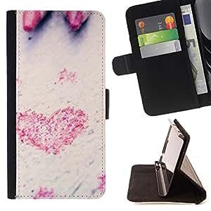 For Sony Xperia Z3 D6603,S-type Corazón del amor del lápiz- Dibujo PU billetera de cuero Funda Case Caso de la piel de la bolsa protectora