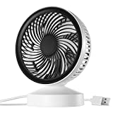 Homasy Mini Desk Fan, Desktop Personal USB Fan Quiet Portable Personal Mini Table Fan with 3.1ft USB Cable for Table, Office, Camping, Dorm, Baby office, Home, Dorm, Study, Library, Games Room, Black & White