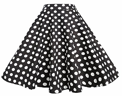 BI.TENCON Women 1950s Black White Polka Dot Circle Swing Vintage Skirt Plus 3XL (Skirt Poodle Blouse)