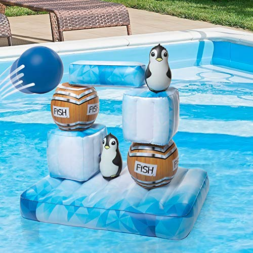 SCS Direct Inflatable Swimming Pool Game - Floating Stack N Splash Penguins - Build It, Aim, Knock It Down - 10pc Set Including 2 Balls