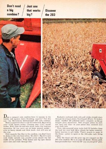 1966 Ad McCormick Harvester International Corn Combine Farm Machines Agriculture - Original Print Ad (International Corn)