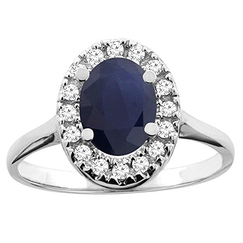 (14K White Gold Natural Blue Sapphire Ring Oval 8x6mm Diamond Accent, size 5)