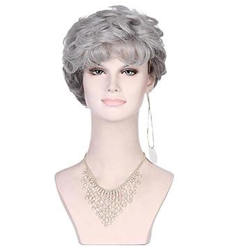 LUCKY-U Gris Curly Peluca Corta Natural Resistente al Calor Pelo para Las Mujeres Mayores