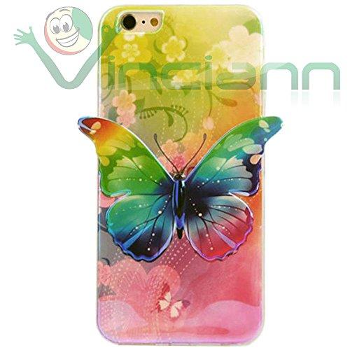 Film + Housse Papillon 3d pour Apple iphone 66S Coque TPU Case adhérent