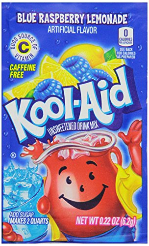 Kool-Aid Flavored Drink Mix, Unsweetened Blue Raspberry Lemonade Twist, 0.2 Ounce Packets (Pack of 96)