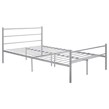 giantex sliver full size metal bed frame platform headboard 10 legs furniture bedroom full