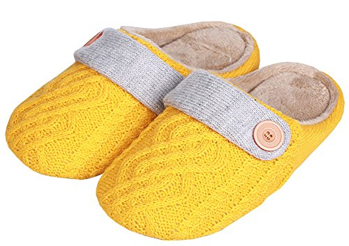 Womens Contrast Color Scuff Slippers Soft Sole House Shoes Yellow vxTfmY5IrB