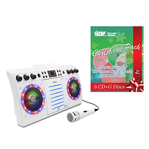 KS303-BT Bluetooth/CDG Karaoke Machine with built-in speakers & Christmas Songs Pack -  Ace Karaoke, HAKAAI0303W+SSDKXM01EG