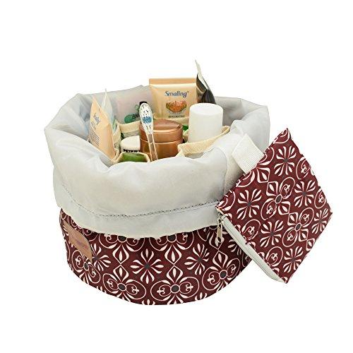 Waterproof Travel Bag Makeup bag Cosmetic Bag Travel Kit Organizer, lightweight Beautistyle Travel Bucket Cosmetic Bag case, Multifunctional cylinder toiletry bag(red)