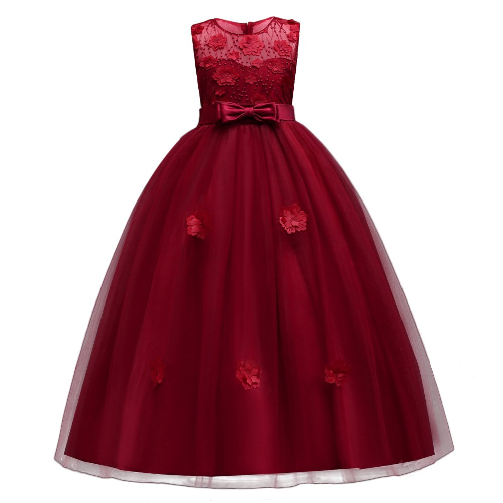 2dc20b08947e Little Big Girls'Tulle Retro Vintage Dresses Flower Lace Pageant Party  Wedding Floor Length Dance Evening Gown