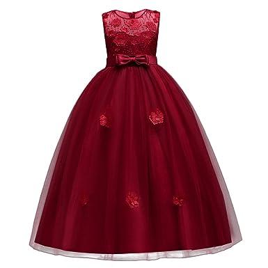 Little Big Girls Tulle Retro Vintage Dresses Flower Lace Pageant Party  Wedding Floor Length Dance Evening Gown 82f3e118f07d