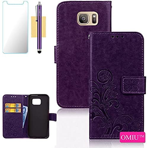 Galaxy S7 Case, S7 Case, OMIU(TM) Premium PU Leather Lucky Clover Pattern Card Slots Kickstand Wallet Case Cover For Samsung Galaxy S7, Sent Stylus,Screen Sales