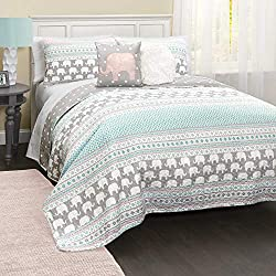 Lush Decor C43202P15-000 4 Piece Elephant Stripe Quilt Set, Full/Queen, Turquoise/Pink