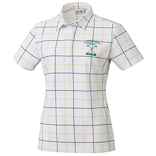 アディダス Adidas 半袖シャツ?ポロシャツ ストレッチ ADICROSS チェックプリント 半袖ポロシャツ レディス ホワイト S